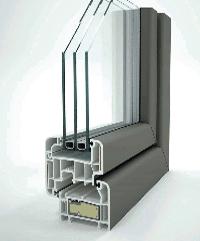 Perfil con triple acristalamiento ventanas de pvc